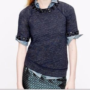 NEW J. Crew Embellished Short Sleeve Sweatshirt